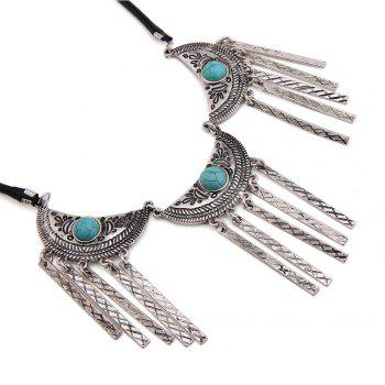 New Vintage Leather Necklace Set Turquoise Earrings Necklace Jewelry Set -  SILVER