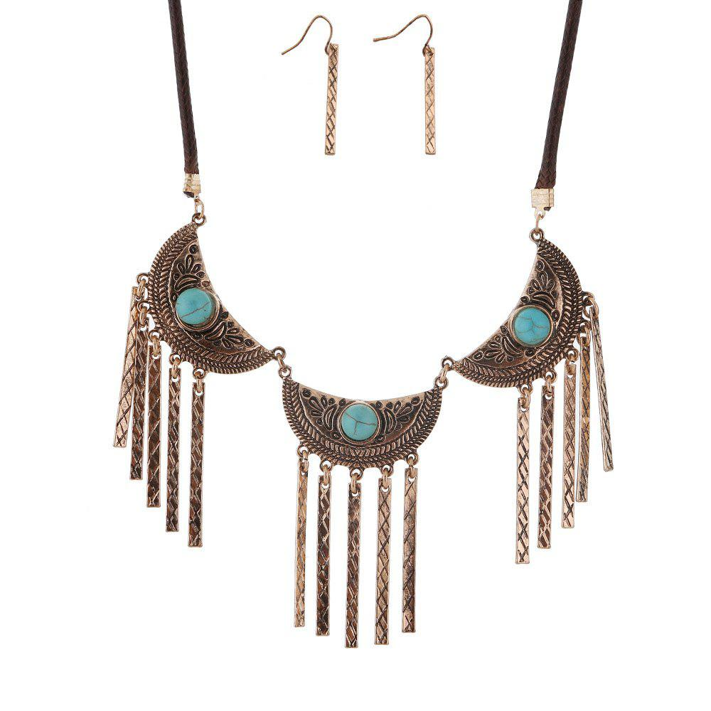 New Vintage Leather Necklace Set Turquoise Earrings Necklace Jewelry Set - GOLDEN