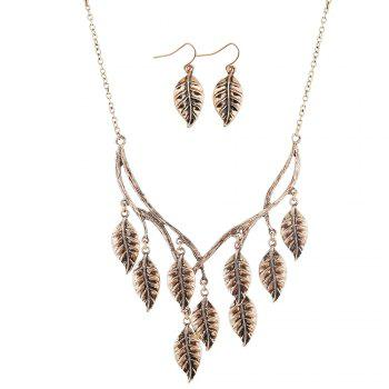 New Retro Sweater Chain Alloy Plating Ancient Silver Maple Leaf Pendant Necklace Earrings Jewelry Set - GOLDEN