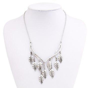 New Retro Sweater Chain Alloy Plating Ancient Silver Maple Leaf Pendant Necklace Earrings Jewelry Set - SILVER