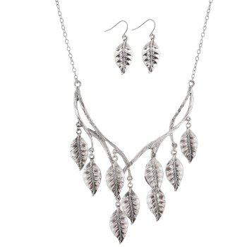 New Retro Sweater Chain Alloy Plating Ancient Silver Maple Leaf Pendant Necklace Earrings Jewelry Set - SILVER SILVER