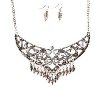 New Retro National Wind Sweater Chain Leaves Tassel Earrings Necklace Jewelry Set - SILVER SILVER