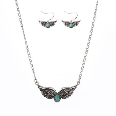 New Turquoise National Wind Wings Necklace fashion Necklaces Earrings Jewelry Set - SILVER