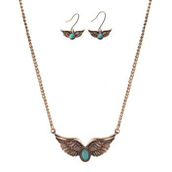 New Turquoise National Wind Wings Necklace fashion Necklaces Earrings Jewelry Set - GOLDEN GOLDEN