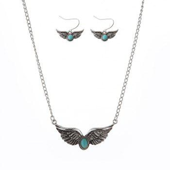 New Turquoise National Wind Wings Necklace fashion Necklaces Earrings Jewelry Set - SILVER SILVER