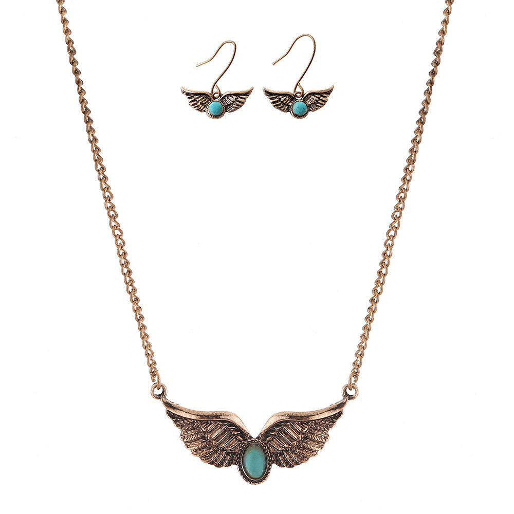New Turquoise National Wind Wings Necklace fashion Necklaces Earrings Jewelry Set - GOLDEN