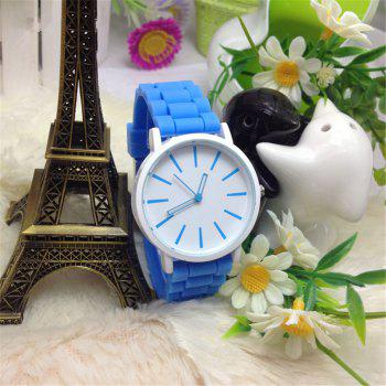 Casual Fashion Good Quality Big Dial Women Men Couples Jelly Silicone Quartz Wristwatch -  AZURE