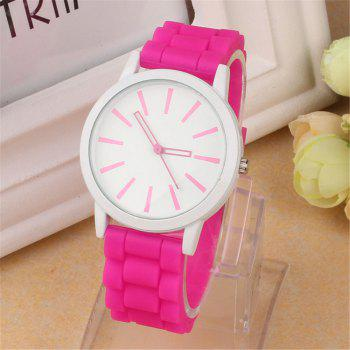 Casual Fashion Good Quality Big Dial Women Men Couples Jelly Silicone Quartz Wristwatch - PEACH RED