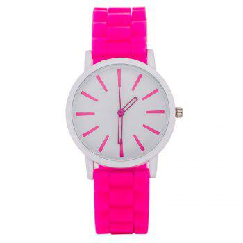 Casual Fashion Good Quality Big Dial Women Men Couples Jelly Silicone Quartz Wristwatch - PEACH RED PEACH RED