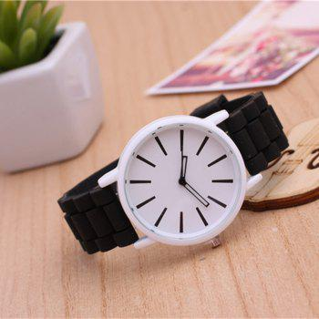 Casual Fashion Good Quality Big Dial Women Men Couples Jelly Silicone Quartz Wristwatch -  BLACK