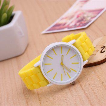 Casual Fashion Good Quality Big Dial Women Men Couples Jelly Silicone Quartz Wristwatch -  YELLOW