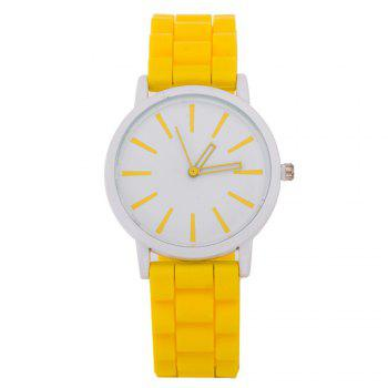 Casual Fashion Good Quality Big Dial Women Men Couples Jelly Silicone Quartz Wristwatch - YELLOW YELLOW
