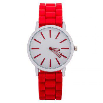 Casual Fashion Good Quality Big Dial Women Men Couples Jelly Silicone Quartz Wristwatch - RED RED