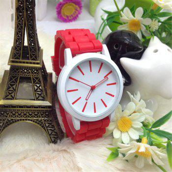 Casual Fashion Good Quality Big Dial Women Men Couples Jelly Silicone Quartz Wristwatch - RED