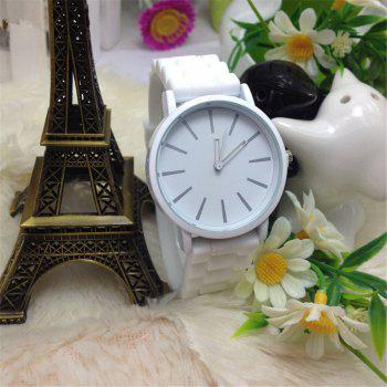 Casual Fashion Good Quality Big Dial Women Men Couples Jelly Silicone Quartz Wristwatch - WHITE