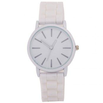 Casual Fashion Good Quality Big Dial Women Men Couples Jelly Silicone Quartz Wristwatch - WHITE WHITE
