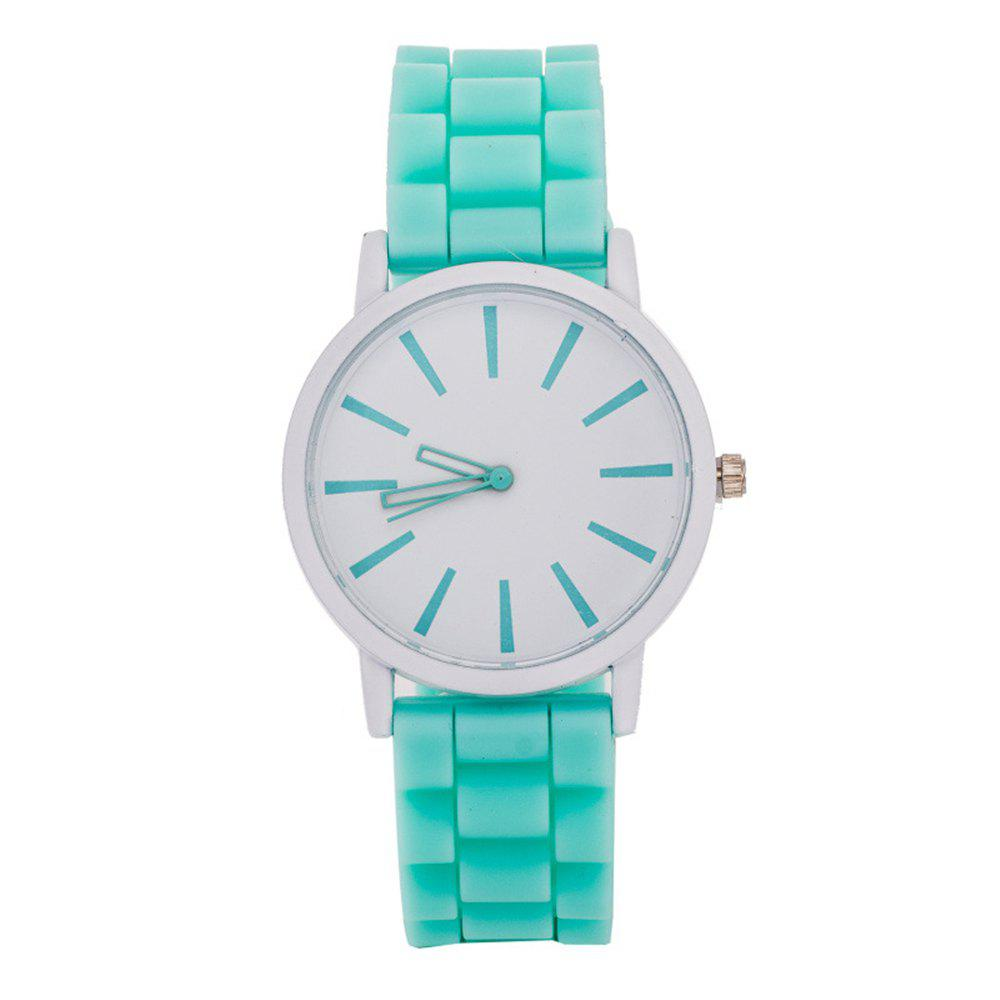 Casual Fashion Good Quality Big Dial Women Men Couples Jelly Silicone Quartz Wristwatch - MINT