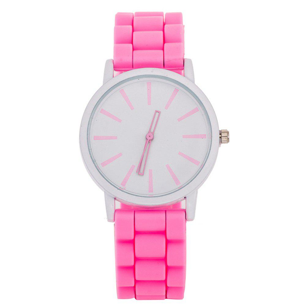 Casual Fashion Good Quality Big Dial Women Men Couples Jelly Silicone Quartz Wristwatch - PINK