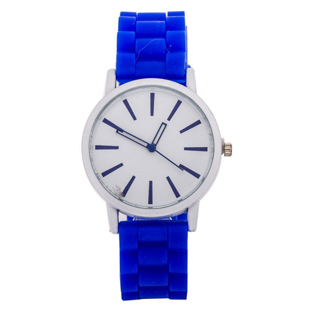 Casual Fashion Good Quality Big Dial Women Men Couples Jelly Silicone Quartz Wristwatch - DEEP BLUE