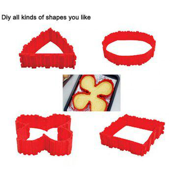 4 Pcs/set DIY Silicone Cake Mold Square Flower Heart Round Cake  Baking Moulds - RED