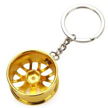 Wheel Hub Alloy Key Chain Wallet Decor Keyring Pendant Decoration - YELLOW