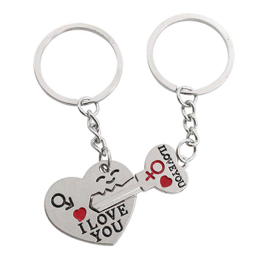 2PCS Lovely I Love You Shape Key Chain - WHITE