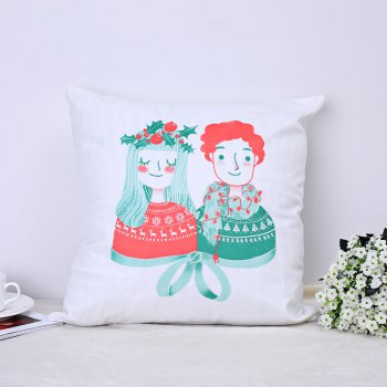 Christmas Pillows, Cute Kittens and Lovers. - WHITE + RED WHITE / RED