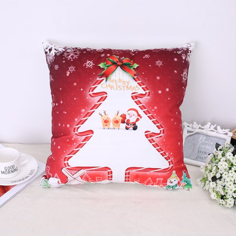 Christmas Tree Elk Pillow - RED