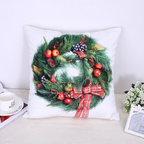 Christmas Pillow Christmas Candy Wreath - WHITE / GREEN