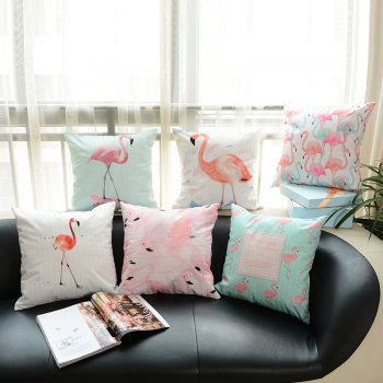 Flamingo Pillow Macaron Printing Super Soft Cushion - WHITEA