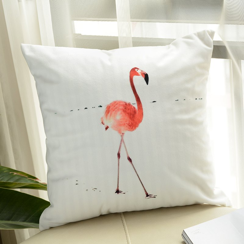 Flamingo Pillow Macaron Printing Super Soft Cushion - WHITE