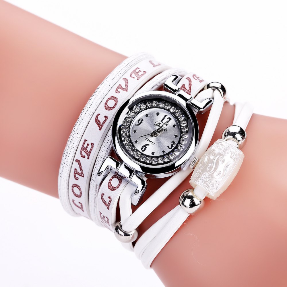 DUOYA D163 PU Leather Analog Quartz Bracelet Watch for Women - WHITE