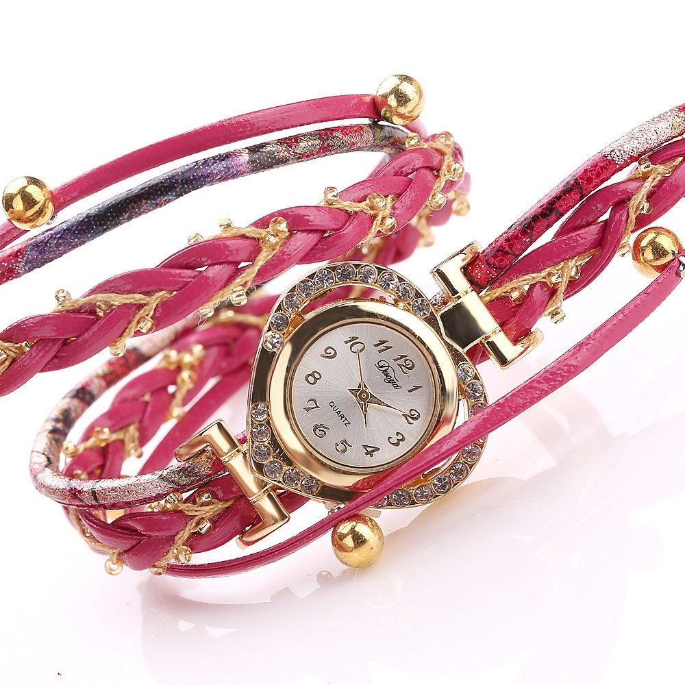 DUOYA D162 Women Heart Shaped Leather Band Wrist Watch with Diamond - RED