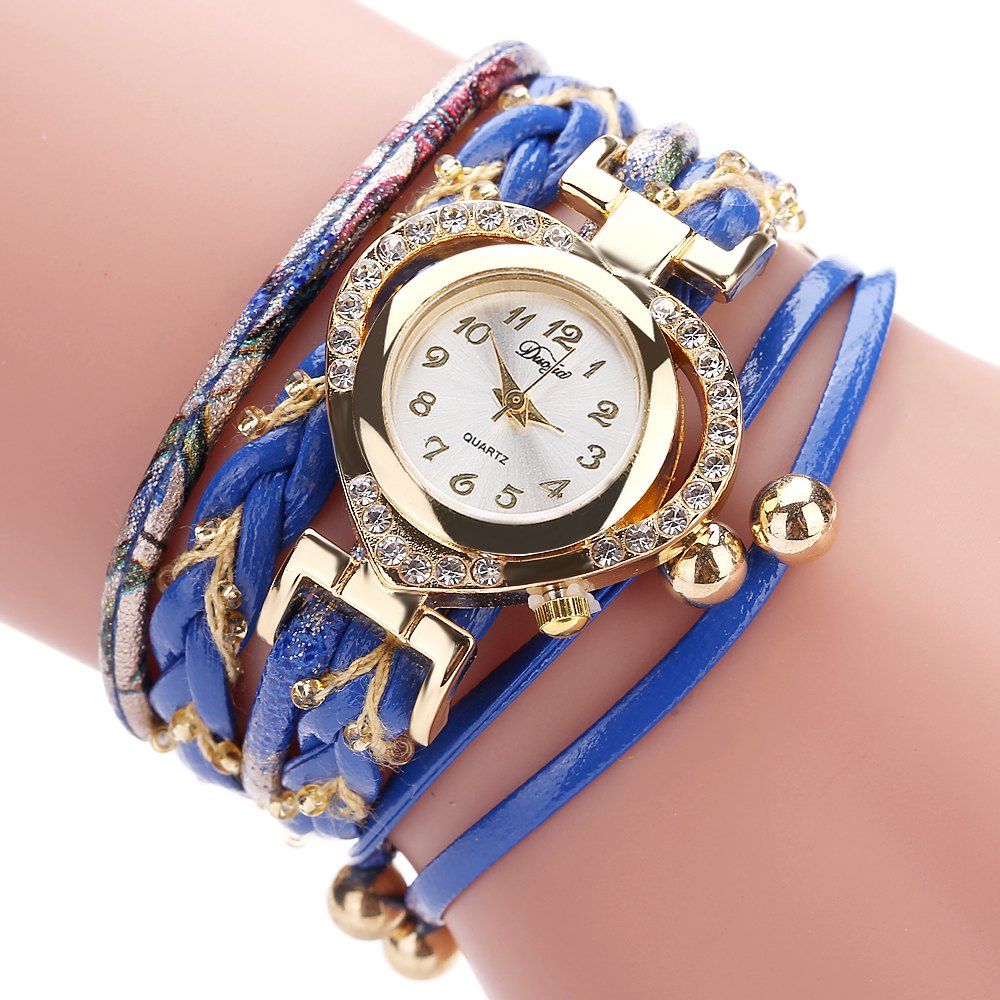 DUOYA D162 Women Heart Shaped Leather Band Wrist Watch with Diamond - BLUE