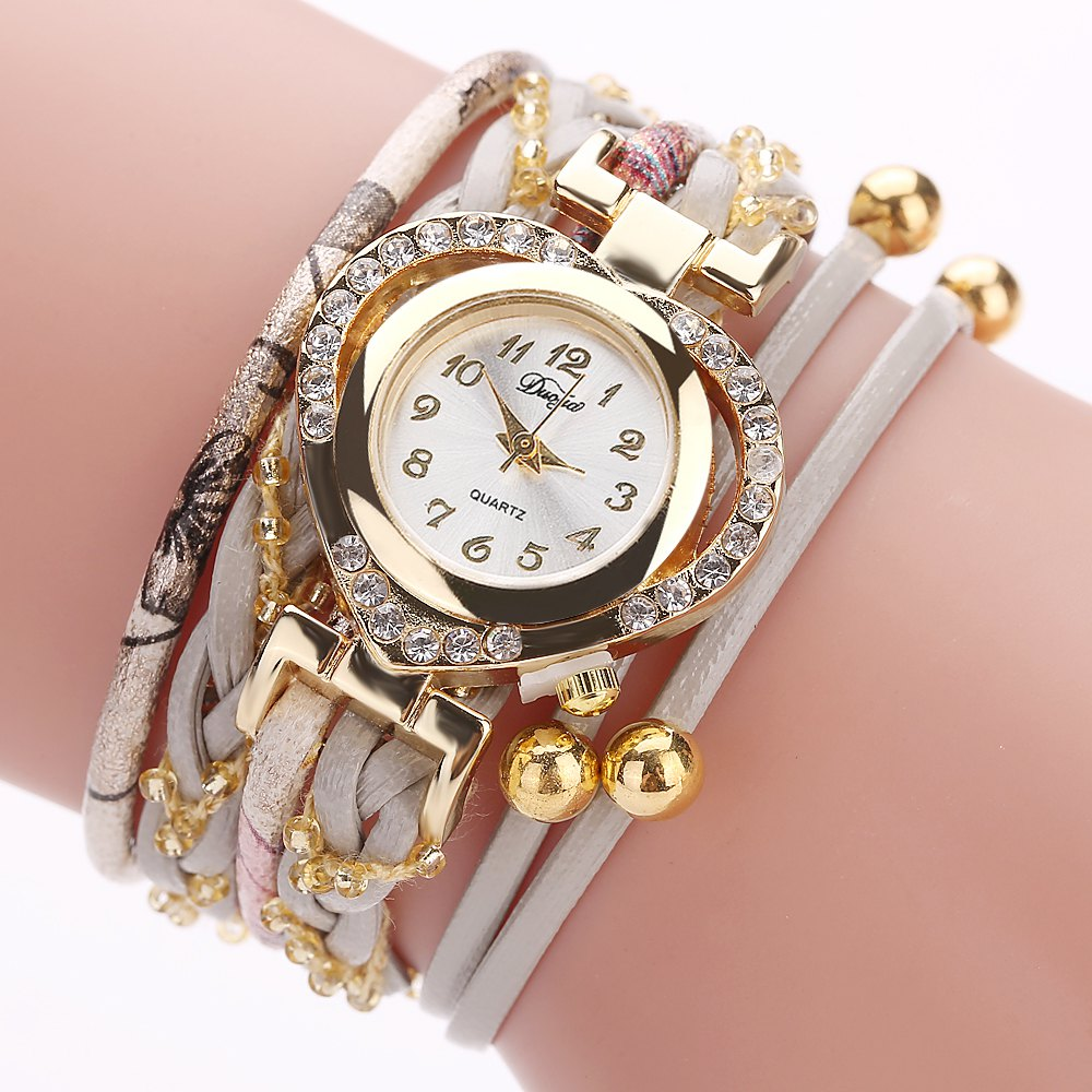DUOYA D162 Women Heart Shaped Leather Band Wrist Watch with Diamond - GREY