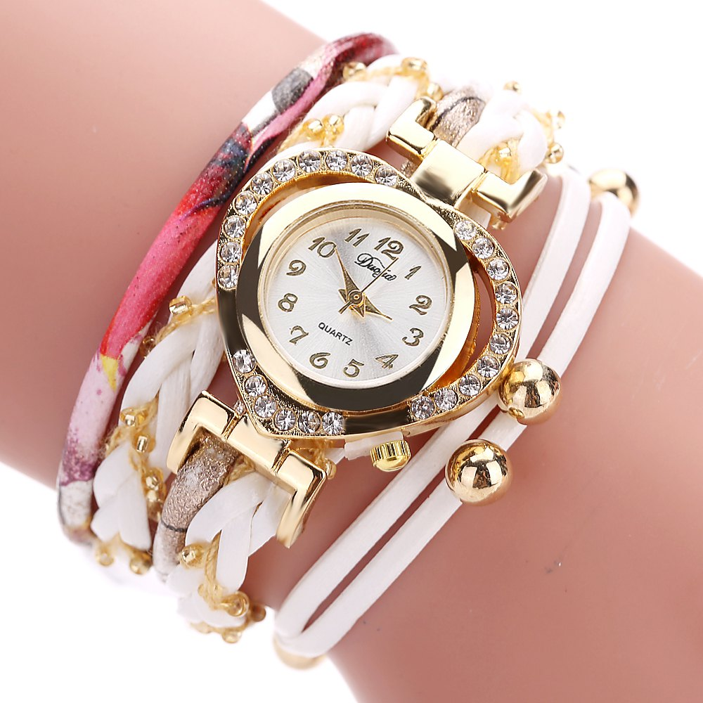 DUOYA D162 Women Heart Shaped Leather Band Wrist Watch with Diamond - WHITE
