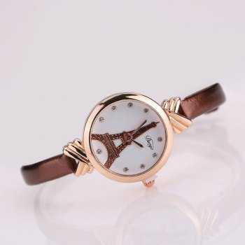 DUOYA D129 Women Girls Tower PU Leather Quartz Wrist Watch - COFFEE
