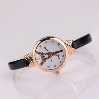 DUOYA D129 Women Girls Tower PU Leather Quartz Wrist Watch - BLACK