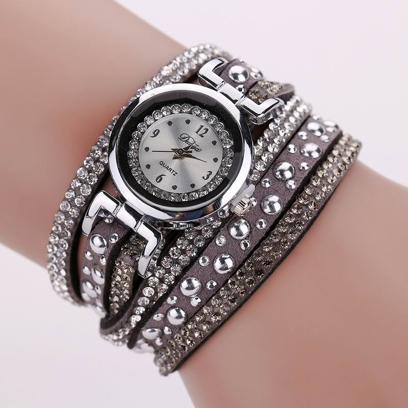 DUOYA D096 Women PU Leather Rhinestones Bracelet Wrist Watch - GREY