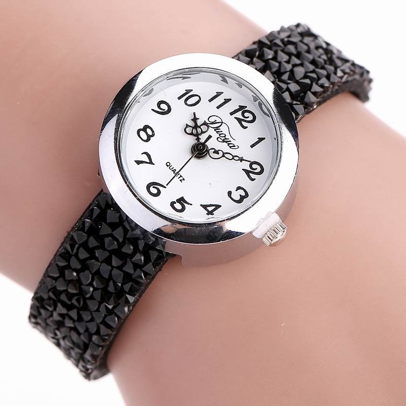 DUOYA D065 Women Rhinestones Leather Band Quartz Wrist Watch от Dresslily.com INT