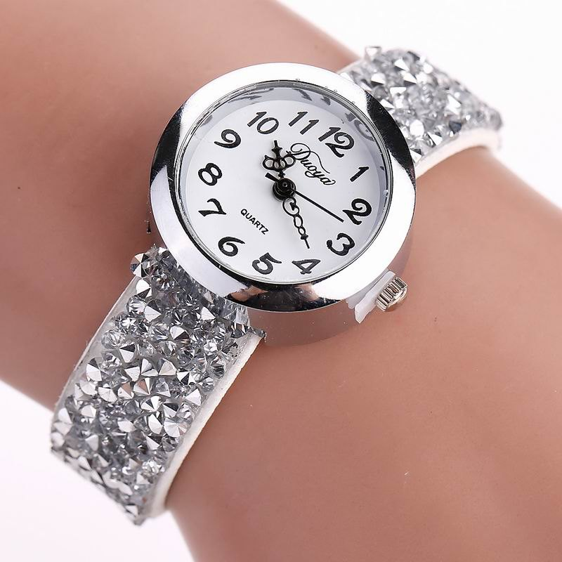 DUOYA D065 Women Rhinestones Leather Band Quartz Wrist Watch - WHITE