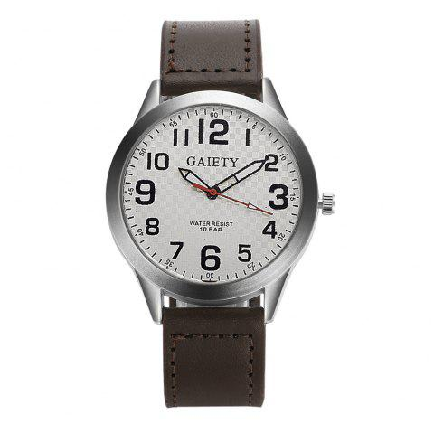 GAIETY  Arabic Numerals Silver Tone Leather Band Wrist Watch for Men G003 - BROWN