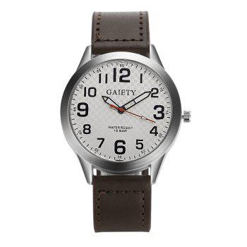 GAIETY  Arabic Numerals Silver Tone Leather Band Wrist Watch for Men G003 - BROWN BROWN