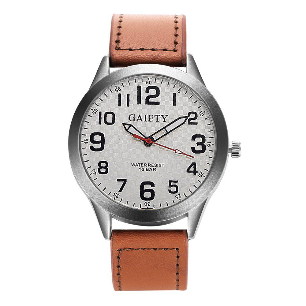 GAIETY  Arabic Numerals Silver Tone Leather Band Wrist Watch for Men G003 - LIGHT BROWN