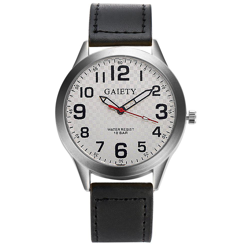 GAIETY  Arabic Numerals Silver Tone Leather Band Wrist Watch for Men G003 - BLACK