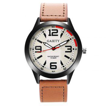 GAIETY Men's Black Easy Read Leather Band Dress Watch G004 - LIGHT BROWN LIGHT BROWN