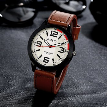 GAIETY Men's Black Easy Read Leather Band Dress Watch G004 - LIGHT BROWN