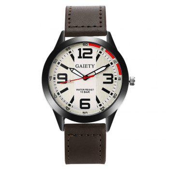GAIETY Men's Black Easy Read Leather Band Dress Watch G004 - BROWN BROWN