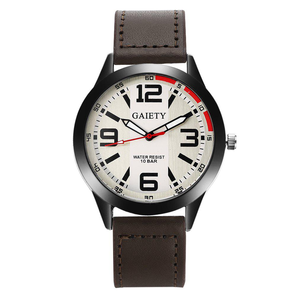 GAIETY Men's Black Easy Read Leather Band Dress Watch G004 - BROWN