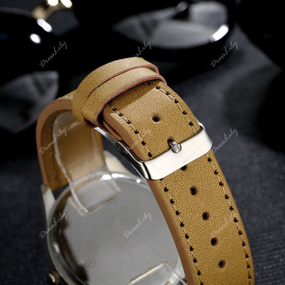 GAIETY Men's Black Easy Read Leather Band Dress Watch G004 - YELLOW